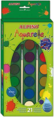 Акварельные краски, 21 цв. + 2 кисточки, артикул:5389713 - Рисование и лепка