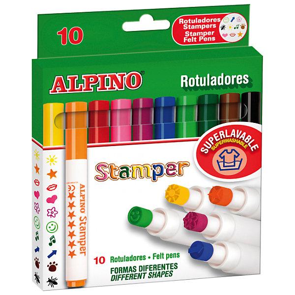 ALPINO Фломастеры Stamper со штампами с утолщенным корпусом, 10 цв.