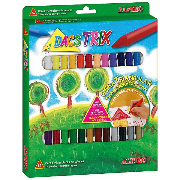 ALPINO Восковые карандаши трехгранные DACSTRIX, 24 цв. alpino восковые темперные pintacolor в пластиковом корпусе