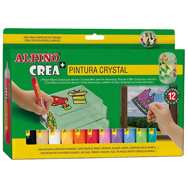 ALPINO Гелевые карандаши Cristal Paint (гель-краски для витражной росписи), 12 цв. + шаблоны и подложки.