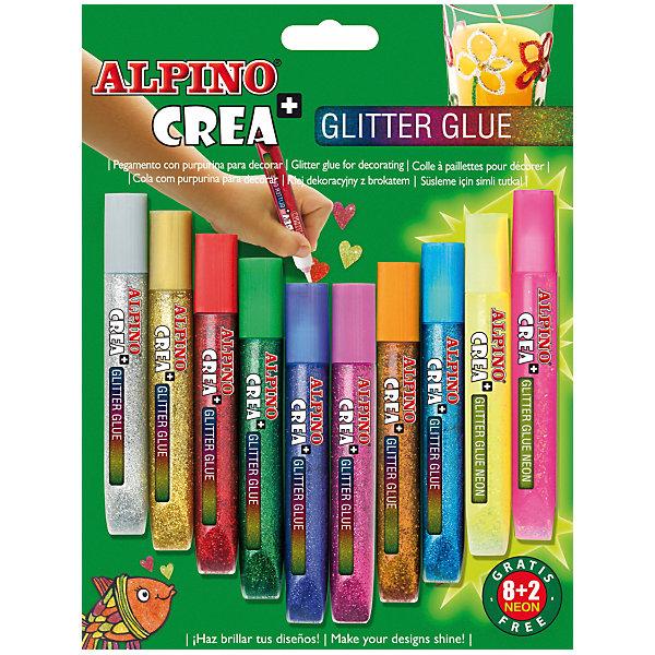 Картинка для Гелевые карандаши CREA Classic&Neon (гель-краски с блестками для декорирования), 8 Classic + 2 Neon = 10 цв.