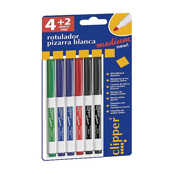 Набор маркеров clipper medium для маркерной доски, 4 цв., 6 штДоски и коврики для рисования<br>Комплект: 6 маркеров (красный,синий х2,черный х2,зеленый)<br>Предназначен для надписей на маркерных досках<br>Сухое стирание<br>Антискользящая зона захвата<br>Колпачек с клипом<br>Упаковка с европетлей<br>Производитель: ALPINO (Испания)<br>Ширина мм: 115; Глубина мм: 15; Высота мм: 220; Вес г: 67; Возраст от месяцев: 36; Возраст до месяцев: 120; Пол: Унисекс; Возраст: Детский; SKU: 5389790;