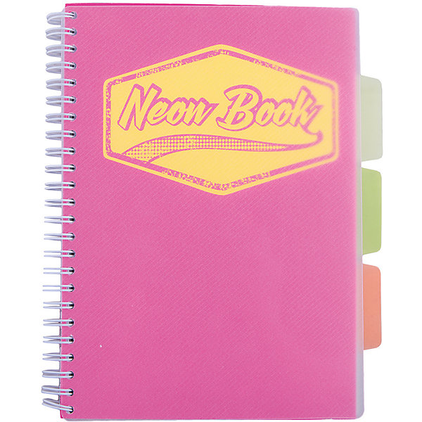 Розовая тетрадь А5 Neon book 120 листовТетради<br>Розовая тетрадь А5 Neon book 120 листов<br><br>Характеристики:<br><br>• Количество листов: 120<br>• Формат: А5<br>• Цвет: розовый<br>• Вес: 287г<br>• Размер: 203х15х168мм<br>• Тип: в клеточку, три разделителя<br><br>Большая общая тетрадь с тремя цветными разделителями идеально подойдет для дополнительных занятий или школьных уроков, где необходимо несколько тетрадей. Пластиковая обложка надежно защищает листы от попадания влаги. Крепление на гребне очень удобное и делает тетрадь компактной.<br><br>Розовую тетрадь А5 Neon book 120 листов можно купить в нашем интернет-магазине.<br>Ширина мм: 203; Глубина мм: 15; Высота мм: 168; Вес г: 287; Возраст от месяцев: 84; Возраст до месяцев: 360; Пол: Унисекс; Возраст: Детский; SKU: 5390348;