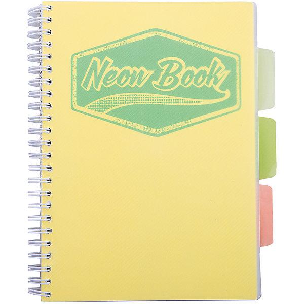 Желтая тетрадь А5 Neon book 120 листовТетради<br>Желтая тетрадь А5 Neon book 120 листов<br><br>Характеристики:<br><br>• Количество листов: 120<br>• Формат: А5<br>• Цвет: желтый<br>• Вес: 287г<br>• Размер: 203х15х168мм<br>• Тип: в клеточку, три разделителя<br><br>Большая общая тетрадь с тремя цветными разделителями идеально подойдет для дополнительных занятий или школьных уроков, где необходимо несколько тетрадей. Пластиковая обложка надежно защищает листы от попадания влаги. Крепление на гребне очень удобное и делает тетрадь компактной.<br><br>Желтую тетрадь А5 Neon book 120 листов можно купить в нашем интернет-магазине.<br>Ширина мм: 203; Глубина мм: 15; Высота мм: 168; Вес г: 287; Возраст от месяцев: 84; Возраст до месяцев: 360; Пол: Унисекс; Возраст: Детский; SKU: 5390349;