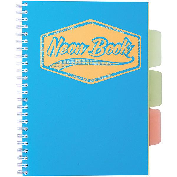 Синяя тетрадь А5 Neon book 120 листовТетради<br>Синяя тетрадь А5 Neon book 120 листов<br><br>Характеристики:<br><br>• Количество листов: 120<br>• Формат: А5<br>• Цвет: синий<br>• Вес: 287г<br>• Размер: 203х15х168мм<br>• Тип: в клеточку, три разделителя<br><br>Большая общая тетрадь с тремя цветными разделителями идеально подойдет для дополнительных занятий или школьных уроков, где необходимо несколько тетрадей. Пластиковая обложка надежно защищает листы от попадания влаги. Крепление на гребне очень удобное и делает тетрадь компактной.<br><br>Синюю тетрадь А5 Neon book 120 листов можно купить в нашем интернет-магазине.<br>Ширина мм: 203; Глубина мм: 15; Высота мм: 168; Вес г: 287; Возраст от месяцев: 84; Возраст до месяцев: 360; Пол: Унисекс; Возраст: Детский; SKU: 5390350;