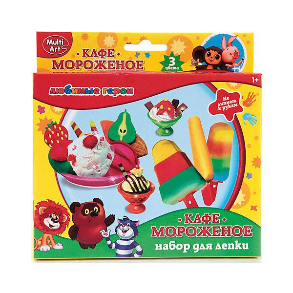 Играем вместе Набор Тесто для лепки Multiart Cозмультфильм. Мороженое (3 цв, 60гр, формочки) играем вместе набор для лепки сделай фигурку тэнка поезд динозавров