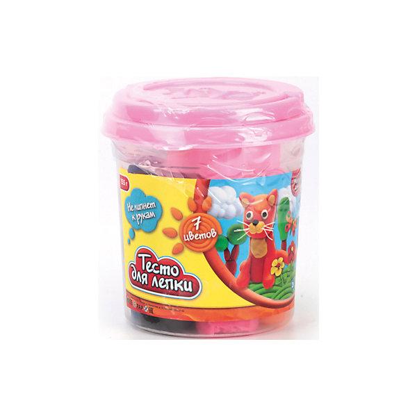 Играем вместе Набор Тесто для лепки Multiart (7 цветов, 155 гр. 2 формочки) в ведре alpino baby набор пасты для лепки волшебное тесто baby