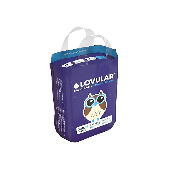 Lovular Трусики-подгузники Lovular Night XXL 15-25 кг, 17 шт подгузники lovular hot wind xs 2 5 кг 22 шт