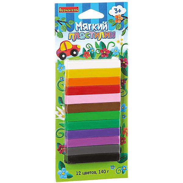 Мягкий пластилин 12 цветов, 140 г, BondibonПластилин<br>Мягкий пластилин ТМ BONDIBON разработан специально для маленьких детей. Не требует предварительного разминания. С помощью мягкого пластилина можно не только лепить, но и создавать объемные рисунки на бумаге или другой плоской поверхности. Поможет весело и пользой провести время, и развить мелкую моторику, фантазию, воображение и творческий потенциал Вашего малыша.<br>Ширина мм: 220; Глубина мм: 95; Высота мм: 10; Вес г: 163; Возраст от месяцев: 36; Возраст до месяцев: 72; Пол: Унисекс; Возраст: Детский; SKU: 5398953;