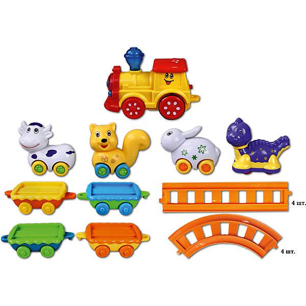 Железная дорога Веселое путешествие, Голубая стрелаЖелезные дороги<br>Железная дорога Веселое путешествие, Голубая стрела.<br><br>Характеристики:<br><br>• Комплектация: красно-желтый паровоз, четыре разноцветных вагона-платформы, четыре фигурки животных, элементы пути (4 прямых, 4 изогнутых)<br>• Размер паровозика: 13,5х6,7х9,3 см.<br>• Собирается в форме: малого овала (63 х61см); большого овала (94,5х41см); круга (диаметр - 41 см); четырехугольника (43х43 см)<br>• Батарейки: 3 типа АА 1,5 V (в комплект не входят)<br>• Материал: пластик<br>• Упаковка: картонная коробка блистерного типа<br>• Размер упаковки: 52х8х36 см.<br><br>Яркая железная дорога «Веселое путешествие» от производителя Голубая стрела – это игрушка для самых маленьких. Забавный паровозик везет за собой четыре вагончика-платформы с фигурками животных: динозаврика, кошечки, коровки и зайчика. У маленьких «пассажиров» есть собственные колесики, поэтому фигурки можно катать по любой поверхности. <br><br>Движение состава по рельсам сопровождается звуковыми и световыми эффектами. Железная дорога собирается в форме малого овала, большого овала, круга или четырехугольника. Играя с железной дорогой «Веселое путешествие», ребенок знакомится с цветом, разовьет мелкую моторику рук, координацию движений, воображение и тактильные ощущения. <br> <br>Железную дорогу Веселое путешествие, Голубая стрела можно купить в нашем интернет-магазине.<br>Ширина мм: 515; Глубина мм: 360; Высота мм: 80; Вес г: 1475; Возраст от месяцев: 36; Возраст до месяцев: 2147483647; Пол: Мужской; Возраст: Детский; SKU: 5400242;