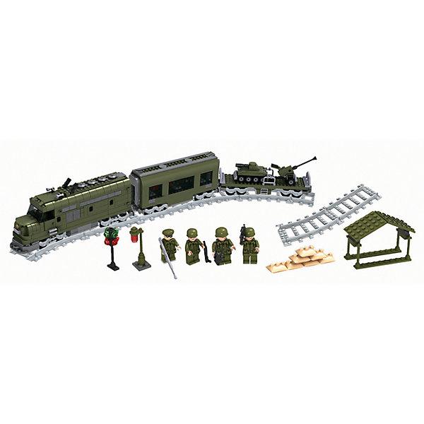 Железная дорога Конструктор Военный эшелон, Голубая стрелаЖелезные дороги<br>Железная дорога Конструктор Военный эшелон, Голубая стрела.<br><br>Характеристики:<br><br>• Комплектация: прямые рельсы - 4 шт., изогнутые рельсы- 16 шт., фигурки - 4 шт., фонарь, светофор, строение, танк, зенитная установка, имитированные мешки с песком, элементы для сборки<br>• Количество деталей: 839<br>• Размер железной дороги: 700х960 мм.<br>• Материал: пластик<br>• Упаковка: картонная коробка<br>• Размер упаковки: 55 x 7 x 43 см.<br><br>«Военный эшелон» - блочный конструктор, в котором 839 деталей! Из деталей конструктора ваш ребенок соберет локомотив, вагон, большую железную дорогу овальной формы, платформу, на которой будет располагаться военная техника (танк, зенитная установка). Вагон, платформа и локомотив легко сцепляются друг с другом. У локомотива открываются дверка, что позволит посадить внутрь одну из 4 фигурок, идущих в наборе. <br><br>Фигурки сделаны в виде военных, на головах – каски, а в руках – оружие. Также для полноценной сюжетной игры в комплекте имеются светофор, строение, фонарь и имитированные мешки с песком. Собирая детали конструктора, ребенок разовьет воображение, мелкую моторику рук, пространственное и логическое мышление. Все наборы серии совместимы между собой.<br><br>Железную дорогу Конструктор Военный эшелон, Голубая стрела можно купить в нашем интернет-магазине.<br>Ширина мм: 545; Глубина мм: 425; Высота мм: 70; Вес г: 2292; Возраст от месяцев: 72; Возраст до месяцев: 2147483647; Пол: Мужской; Возраст: Детский; SKU: 5400247;