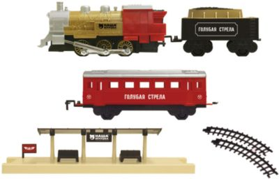 Железная дорога Локомотив с двумя вагончиками 282 см, Голубая стрела, артикул:5400267 - Транспорт