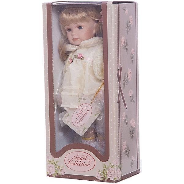 Фарфоровая кукла Кетлин, Angel CollectionКуклы<br>Фарфоровая кукла Кетлин, Angel Collection.<br><br>Характеристики:<br><br>• Высота куклы: 30 см.<br>• Материал: фарфор, текстиль.<br>• Упаковка: картонная коробка блистерного типа<br><br>Фарфоровая кукла Кетлин, Angel Collection - очаровательная малышка со светлыми локонами. Кетлин одета в нарядное белое платье, которое украшено тоненьким пояском с нежными розами. Поверх платья надета светло-желтая кофточка, а на ногах куклы ботиночки того же цвета. Золотистые волосы Кетлин собраны в два забавных хвостика, которые украшены бантиками. Черты лица куклы выполнены весьма детально, что делает ее похожей на настоящую девочку. Кукла установлена на специальную подставку. <br><br>Фарфоровая красавица Кетлин - это не просто игрушка, а также украшение для интерьера или ценный экспонат коллекции. Каждая кукла в серии Angel Collection, обладает неповторимым образом - принцессы, феи, маленькие девочки, роскошные невесты и т.д. Изысканные наряды и очаровательная матовость фарфора превращают этих кукол в настоящее произведение искусства. Куклы Angel Collection сделаны из уникальной голубой глины, добываемой только в провинции Tai-Nan Shin, Тайвань.<br><br>Фарфоровую куклу Кетлин, Angel Collection можно купить в нашем интернет-магазине.<br>Ширина мм: 145; Глубина мм: 320; Высота мм: 95; Вес г: 667; Возраст от месяцев: 36; Возраст до месяцев: 2147483647; Пол: Женский; Возраст: Детский; SKU: 5400275;
