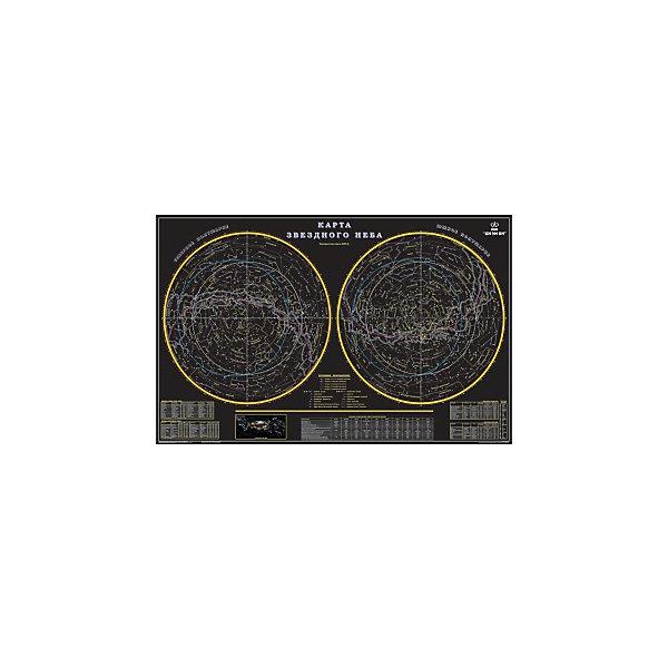 Карта Звездное небо 90*57 см (в тубусе)Атласы и карты<br>Эта карта открывает перед нами тайны звездного неба. Показаны основные характеристики планет солнечной системы. Ряд сведений о звездах приводится в таблицах. Карта составлена таким образом, чтобы облегчить начинающим поиск звезд и основных созвездий.<br>Ширина мм: 200; Глубина мм: 200; Высота мм: 970; Вес г: 200; Возраст от месяцев: 72; Возраст до месяцев: 204; Пол: Унисекс; Возраст: Детский; SKU: 5405057;