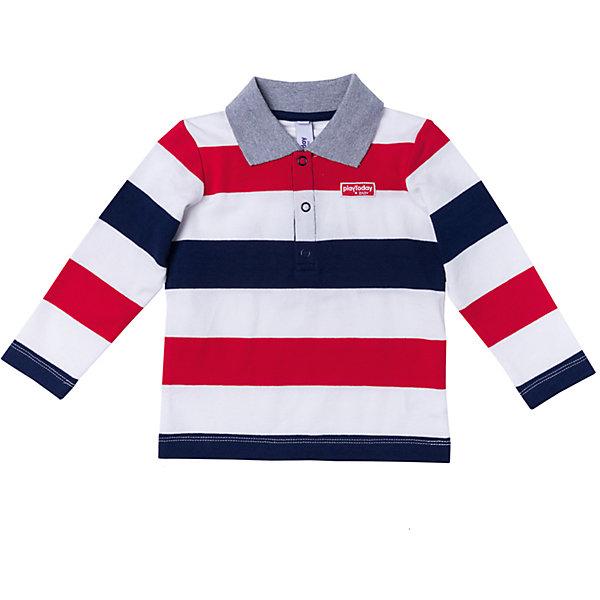 Рубашка-поло PlayToday для мальчикаФутболки с длинным рукавом<br>Характеристики товара:<br><br>• цвет: белый/красный/синий<br>• состав: 95% хлопок, 5% эластан<br>• отложной воротник<br>• кнопки у горловины<br>• страна бренда: Германия<br>• страна производства: Китай<br><br>Рубашка-поло в полоску PlayToday. Руцбашка-поло для мальчика подойдет для домашнего использования и для прогулок на свежем воздухе. Натуральный материал приятен к телу и не сковывает движений ребенка. Яркий принт является достойным украшением данного изделия.<br><br>Футболку с длинным рукавом для мальчика от известного бренда PlayToday можно купить в нашем интернет-магазине.<br>Ширина мм: 199; Глубина мм: 10; Высота мм: 161; Вес г: 151; Цвет: белый; Возраст от месяцев: 6; Возраст до месяцев: 9; Пол: Мужской; Возраст: Детский; Размер: 74,92,86,80; SKU: 5407745;