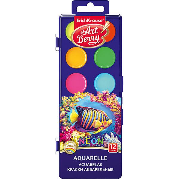 Краски акварельные ArtBerry Неон, 12 цветов с УФ защитой яркостиКраски<br>Характеристики акварельных красок ArtBerry Неон:<br><br>• возраст: от 5 лет<br>• пол: для мальчиков и девочек<br>• материал: пластик, краситель, связующее вещество.<br>• размер упаковки: 18.5х7х1 см.<br>• упаковка: пластиковая коробка.<br>• тип: акварельные полусухие.<br>• количество цветов: 12.<br>• бренд: Erich Krause<br>• страна обладатель бренда: Россия.<br><br>Краски акварельные медовые полусухие, 12 цветов. Легко смываются с рук, отстирываются с большинства видов ткани и бытовых поверхностей. Яркие цвета. Имеют специально разработанный состав на основе органических пигментов и натурального связующего с добавлением пчелиного мёда, что позволяет получать насыщенные изображения, достигать ощущения бархатистости цвета. <br><br>Краски легко набираются на кисть, мягко ложатся по сухой и по сырой бумаге. Цвета хорошо смешиваются между собой. Дают тонкие переходы, прозрачность и мягкость красочного слоя. Являются великолепным инструментом для раннего развития ребенка. Краска всех цветов расположена на одной подложке. Практичная упаковка - пластиковый бокс с европодвесом. Рекомендуется от 3 лет и старше.<br><br>Акварельные краски ArtBerry торговой марки Erich Krause  можно купить в нашем интернет-магазине.<br>Ширина мм: 104; Глубина мм: 205; Высота мм: 13; Вес г: 89; Возраст от месяцев: 60; Возраст до месяцев: 216; Пол: Унисекс; Возраст: Детский; SKU: 5409205;