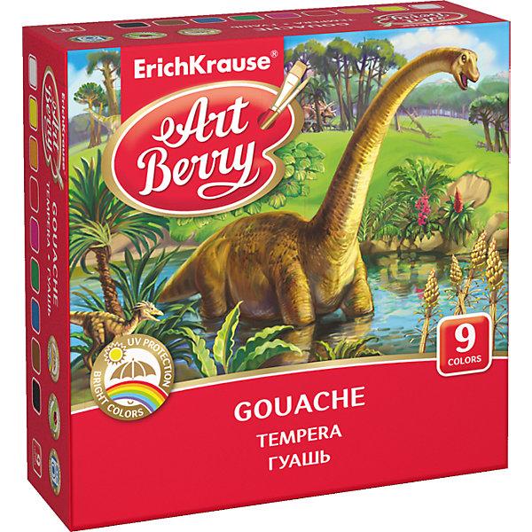 Гуашь ArtBerry с УФ защитой яркости, 9 цветов по 20млКраски<br>Характеристики гуаши ArtBerry 9 цветов:<br><br>• возраст: от 5 лет<br>• пол: для мальчиков и девочек<br>• комплект: 9 баночек с краской.<br>• материал: пластик, краситель, связующее вещество.<br>• размер упаковки: 11.5x11.5x4 см.<br>• упаковка: картонная коробка<br>• объем баночки: 20 мл.<br>• назначение: детское творчество, художественно-оформительские работы, роспись, живопись.<br>• бренд: Erich Krause<br>• страна обладатель бренда: Россия.<br><br>Набор из девяти разных цветов гуаши предназначен для детского творчества, а также может быть использован для оформительских работ и живописи. Основным отличием гуаши от акварели является большее количество красителя и меньшее количество связующего вещества, благодаря чему краски очень яркие и насыщенные. <br><br>После высыхания картина, написанная гуашью, приобретает специфическую белесоватость, добавляющую колорита рисунку. Для оформительских работ гуашь используют в сочетании с клеем или покрывают лаком для закрепления рисунка.<br><br>Гуашь ArtBerry с УФ защитой яркости 9 цветов торговой марки Erich Krause можно купить в нашем интернет-магазине.<br>Ширина мм: 119; Глубина мм: 116; Высота мм: 40; Вес г: 254; Возраст от месяцев: 60; Возраст до месяцев: 216; Пол: Унисекс; Возраст: Детский; SKU: 5409212;