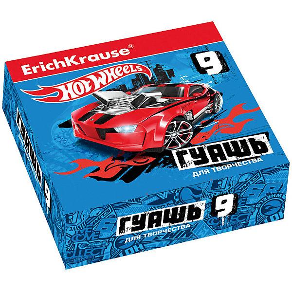 Гуашь Hot Wheels Super Car, 9 цветов по 20млКраски<br>Характеристики гуаши Hot Wheels Super Car, 9 цветов:<br><br>• возраст: от 5 лет<br>• пол: для мальчиков<br>• комплект: 9 баночек по 20 мл.<br>• материал: краски, пластик.<br>• размер упаковки: 15.5х11.5х4 см.<br>• упаковка: картонная коробка.<br>• вес: 0.4 кг.<br>• бренд: производитель: Erichkrause<br>• страна обладатель бренда: Россия.<br><br>Гуашь Hot Wheels Super Car, торговой марки Erichkrause идеально подойдет для детского творчества. После высыхания поверхность имеет матово-бархатистую фактуру. Гуашь легко смывается водой.<br><br>Гуашь Hot Wheels Super Car 9 цветов торговой марки Erich Krause можно купить в нашем интернет-магазине.<br>Ширина мм: 119; Глубина мм: 116; Высота мм: 40; Вес г: 254; Возраст от месяцев: 60; Возраст до месяцев: 216; Пол: Мужской; Возраст: Детский; SKU: 5409218;