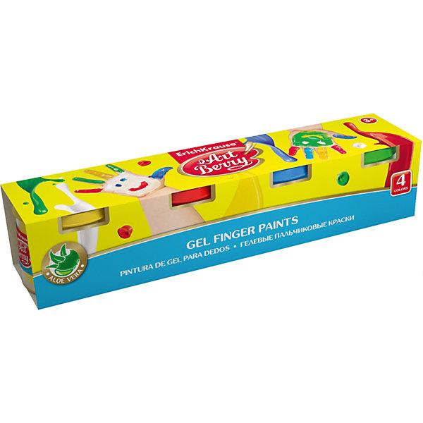 Erich Krause Пальчиковые краски ArtBerry с Алоэ Вера, 4 цвета по 100мл