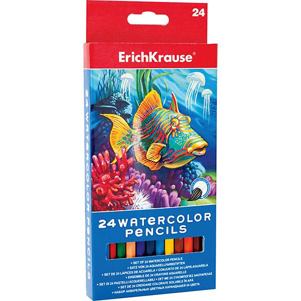 Erich Krause Акварельные карандаши шестигранные, 24 цвета + кисточка, ArtBerry