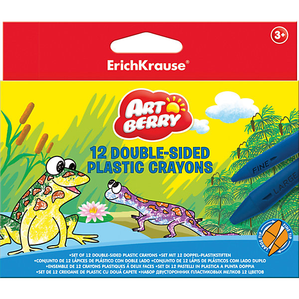 Erich Krause Двухсторонние пластиковые мелки ArtBerry jumbo, 12 цветов пайетки двухсторонние