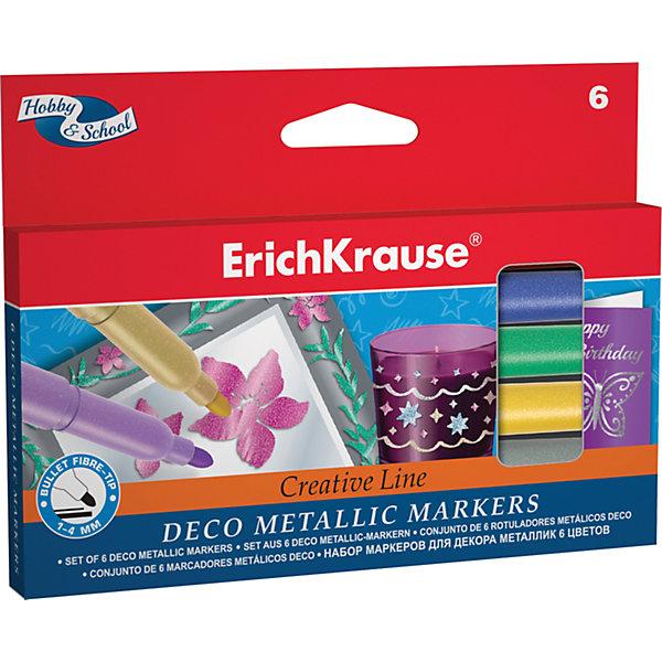 Купить Фломастеры ArtBerry Metallic easy washable, 6 цветов, Erich Krause, Малайзия, Унисекс