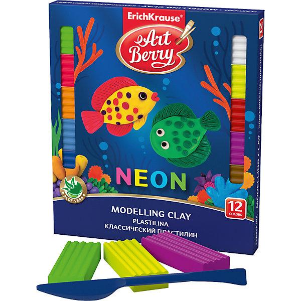 Erich Krause Классический пластилин ArtBerry с Алоэ Вера, Неон 12 цветов, 216г, со стеком всё для лепки луч пластилин флюрисветики 10 цветов 160гр со стеком