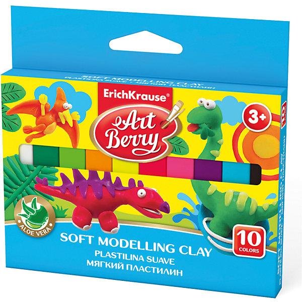 Erich Krause Мягкий пластилин ArtBerry с Алоэ Вера, 10 цветов, 150г erich krause пластилин мягкий art berry цвет коричневый