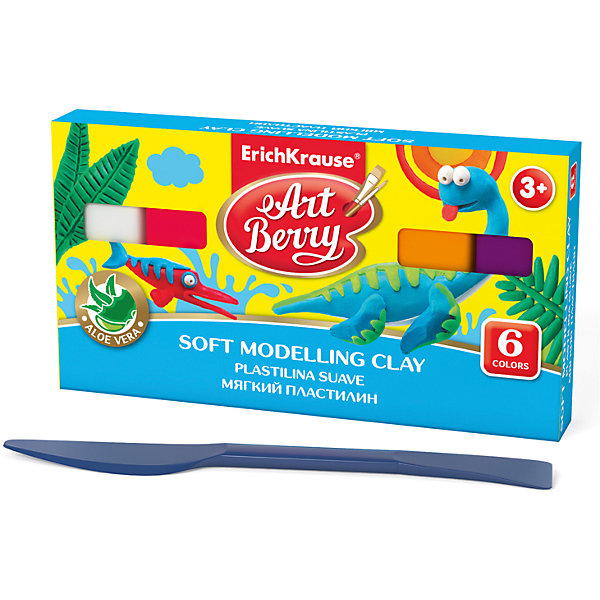 Мягкий пластилин ArtBerry с Алоэ Вера, 6 цветов, 120гПластилин<br>Характеристики товара:<br><br>• материал упаковки: картон<br>• в комплект входит: пластилин, стек<br>• количество цветов: 6<br>• возраст: от 3 лет<br>• габариты упаковки: 13,5х11х1,8 см<br>• вес: 139 г<br>• страна производитель: Россия<br><br>Мягкий пластилин изготовлен с введением в состав Алоэ Вера. Благодаря этому параметру пластилин не сушит детскую кожу, а наоборот, бережно ухаживает за поверхностью ручек малыша. Сам пластилин отлично лепится и застывает на воздухе через 12 часов.<br><br>Мягкий пластилин ArtBerry с Алоэ Вера, 6 цветов/120г, коробка, со стеком можно купить в нашем интернет-магазине.<br>Ширина мм: 135; Глубина мм: 110; Высота мм: 18; Вес г: 139; Возраст от месяцев: 36; Возраст до месяцев: 2147483647; Пол: Унисекс; Возраст: Детский; SKU: 5409311;