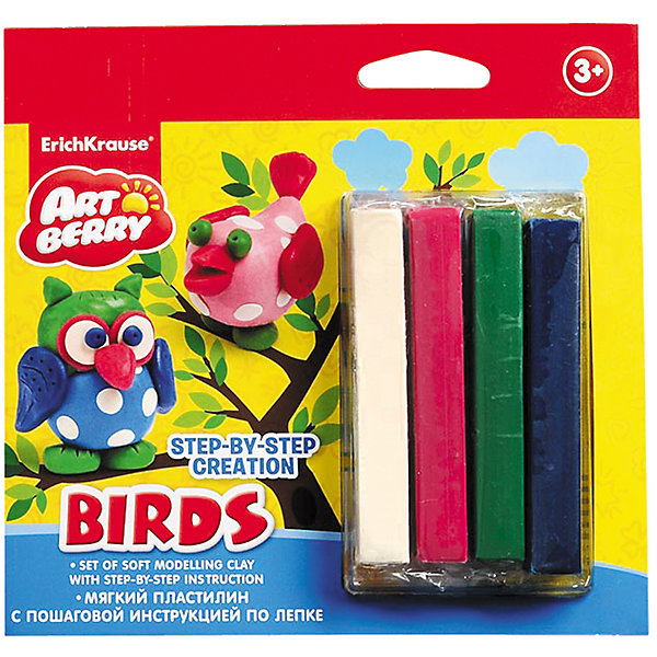 Пластилин мягкий 4цв+инструкция Birds Step-by-step Сreation ArtberryПластилин<br>Пластилин мягкий 4цв+инструкция Birds Step-by-step Сreation Artberry<br><br>Характеристики:<br><br>• В набор входит: 4 брусочка пластилина, инструкция<br>• Размер упаковки: 16,5 * 1,5 * 16 см.<br>• Вес: 97 г.<br>• Для детей в возрасте: от 3-х лет<br>• Страна производитель: Китай<br><br>Серия ArtBerry (Артберри) отличается натуральностью своих компонентов и повышенной безопасностью состава продукции специально для дошкольников. Пластилин этой серии изготовлен на основе кукурузного крахмала, легко разминается и не застывает на воздухе, в состав также входит вазелиновое масло, ухаживающее за ручками. <br><br>В этом наборе предлагается вылепить птиц. Благодаря пошаговой инструкции ребёнок без труда сможет вылепить сову и райскую птичку, в набор входят нужные для лепки цвета, некоторые из них нужно будет смешать. Занимаясь лепкой дети развивают моторику рук, творческие способности, восприятие цветов и их сочетаний, а также лепка благотворно влияет на развитие речи, координацию движений, память и логическое мышление. Лепка всей семьей поможет весело и пользой провести время!<br><br>Пластилин мягкий 4цв+инструкция Birds Step-by-step Сreation Artberry можно купить в нашем интернет-магазине.<br>Ширина мм: 165; Глубина мм: 160; Высота мм: 15; Вес г: 97; Возраст от месяцев: 60; Возраст до месяцев: 216; Пол: Унисекс; Возраст: Детский; SKU: 5409344;