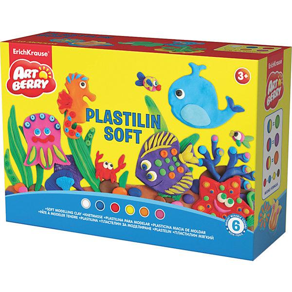 Пластилин мягкий Artberry по Play in Clay 6 цветов по 50гПластилин<br>Пластилин мягкий Artberry по Play in Clay 6 цветов по 50г.<br><br>Характеристики:<br><br>• В набор входит: 6 брусочков пластилина, 8 формочек, ножичек, валик, инструкция<br>• Размер упаковки: 22,5 * 8 * 15,5 см.<br>• Вес: 577 г.<br>• Для детей в возрасте: от 3-х лет<br>• Страна производитель: Китай<br><br>Пластилин этой серии изготовлен на основе кукурузного крахмала, легко разминается и не застывает на воздухе, в состав также входит вазелиновое масло, ухаживающее за ручками. Этот набор включает в себя шесть ярких цветов, которые позволят вылепить любой шедевр. Кроме того, в набор входят целых восемь формочек с растениями и животными. <br><br>С помощью безопасного ножичка вы сможете отрезать кусочки и вырезать детали животных и растений, а благодаря валику можно будет раскатывать пластилин как тесто. Занимаясь лепкой дети развивают моторику рук, творческие способности, восприятие цветов и их сочетаний, а также лепка благотворно влияет на развитие речи, координацию движений, память и логическое мышление. Лепка всей семьей поможет весело и пользой провести время!<br><br>Пластилин мягкий Artberry по Play in Clay 6 цветов по 50г. можно купить в нашем интернет-магазине.<br>Ширина мм: 226; Глубина мм: 155; Высота мм: 78; Вес г: 577; Возраст от месяцев: 60; Возраст до месяцев: 216; Пол: Унисекс; Возраст: Детский; SKU: 5409346;