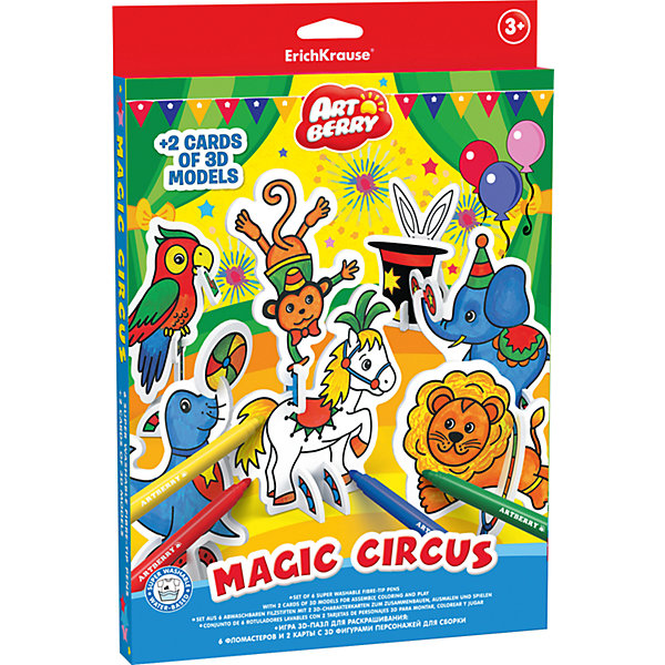 Купить Игровой 3D-пазл для раскрашивания Волшебный цирк , Artberry, Erich Krause, Россия, Унисекс