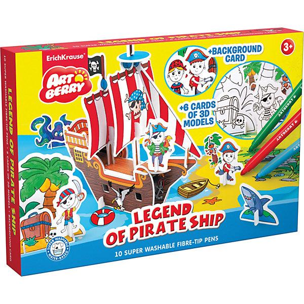 Игровой 3D-пазл для раскрашивания Легенда о пиратском корабле, ArtberryНаборы для рисования<br>Характеристики товара:<br><br>• материал: гофрокартон <br>• в комплекте: модель для сборки, игровое поле, фломастеры – 10 цветов<br>• возраст: от 3 лет<br>• габариты упаковки: 23х30х25 см<br>• вес: 581 г<br>• страна производитель: Россия<br><br>Пазлы в формате 3Д – отличная игрушка для развития мышления и мелкой моторики малыша. Пользу игрушке добавляет возможность раскрашивания готовой модели, которая развивает творческие способности ребенка. Все необходимое уже включено в набор.<br><br>Игровой 3D-пазл для раскрашивания Легенда о пиратском корабле от бренда Artberry можно купить в нашем интернет-магазине.<br>Ширина мм: 230; Глубина мм: 300; Высота мм: 25; Вес г: 581; Возраст от месяцев: 36; Возраст до месяцев: 2147483647; Пол: Мужской; Возраст: Детский; SKU: 5409357;