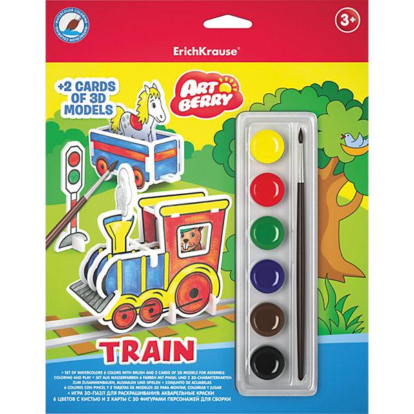 3D пазл для раскрашивания ErichKrause ArtBerry Train акварель 6 цветов и 2 карты с фигурами для сборки3D пазлы<br>Характеристики товара:<br><br>• комплектация: фигуры для сборки, краски, кисть;<br>• количество цветов: 6<br>• тип красок: акварельные<br>• упаковка товара: картонная коробка<br>• размер упаковки: 18х12х0,05 см<br>• вес упаковки: 160 г<br>• страна бренда: Россия<br><br>Набор для творчества от ErichKrause станет отличным подарком юному художнику. В нем уже есть все необходимое для создания картонного 3D -пазла раскрашенного и собранного своими руками. Яркие качественные краски хорошо ложатся и не выгорают. На упаковке указана подробная инструкция по технике сборки и раскрашивания.