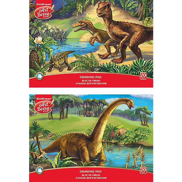 Альбом для рисования А4 20л Эра динозавров, ArtBerryАльбомы и бумага для рисования<br>Альбом для рисования А4 20л Эра динозавров, ArtBerry<br><br>Характеристики:<br><br>• В набор входит: 1 альбом<br>• Количество листов: 20 <br>• Материал: картон мелованный, бумага офсетная 120 г/м<br>• Тип переплёта: склейка<br>• Формат: А4 <br>• Размер упаковки: 29,7 * 0,3 * 21 см.<br>• Вес: 191 г.<br>• Для детей в возрасте: от 3-х лет<br>• Страна производитель: Россия<br><br>Прекрасная обложка с рисунком динозавров будет вдохновлять будущего художника. Производитель предлагает два варианта оформления альбома, к сожалению расцветку нельзя выбрать заранее. Качественная белая бумага отлично подойдёт для рисунков карандашами, фломастерами или восковыми мелками. Проклеенные листы легко вырывать из альбома, оставляя края ровными и аккуратными. Теперь вы всегда можете повесить шедевр вашего ребёнка на холодильник или повесить на стену. <br><br>Альбом для рисования А4 20л Эра динозавров, ArtBerry можно купить в нашем интернет-магазине.<br>Ширина мм: 299; Глубина мм: 210; Высота мм: 3; Вес г: 191; Возраст от месяцев: 60; Возраст до месяцев: 216; Пол: Унисекс; Возраст: Детский; SKU: 5409364;