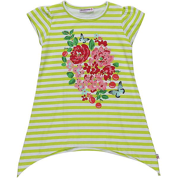 Футболка для девочки Sweet BerryФутболки, поло и топы<br>Стильная, Удлиненная футболка из трикотажной  ткани для девочки с коротким рукавом и ассиметричным низом. Декорирована оригинальным принтом.<br>Состав:<br>95%хлопок 5%эластан<br>Ширина мм: 199; Глубина мм: 10; Высота мм: 161; Вес г: 151; Цвет: белый; Возраст от месяцев: 72; Возраст до месяцев: 84; Пол: Женский; Возраст: Детский; Размер: 122,98,104,128,116,110; SKU: 5409931;