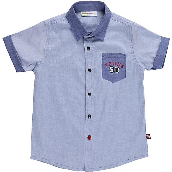 Рубашка для мальчика Sweet BerryБлузки и рубашки<br>Текстильная рубашка из хлопка для мальчика. Короткий рукав, накладной карман на левой полочке. Застегивается на кнопки. Отложной воротничок.<br>Состав:<br>100%хлопок<br>Ширина мм: 174; Глубина мм: 10; Высота мм: 169; Вес г: 157; Цвет: голубой; Возраст от месяцев: 24; Возраст до месяцев: 36; Пол: Мужской; Возраст: Детский; Размер: 98,104,128,122,116,110; SKU: 5410623;