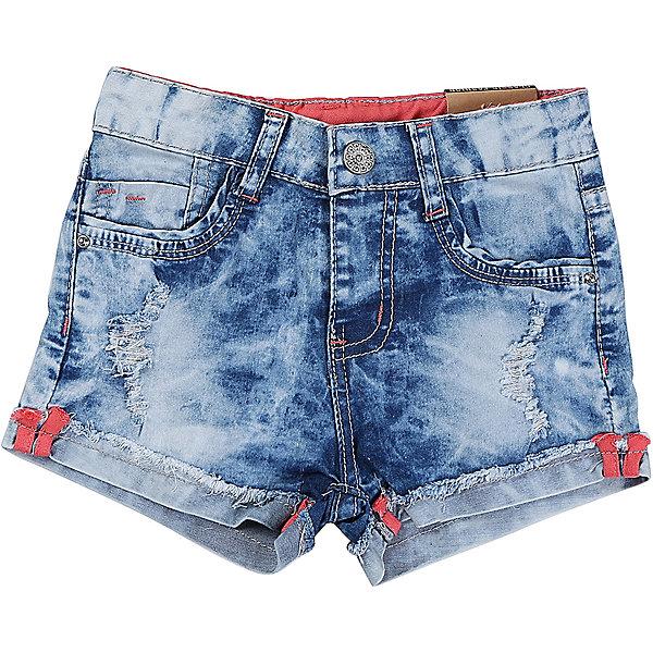 Джинсовые шорты для девочки Sweet BerryШорты, бриджи, капри<br>Джинсовые шорты для девочки с подворотом и оригинальной варкой. Декоррированы эффектом потертости и рваной джинсы. Застегиваются на молнию и крючок.  В боковой части пояса находятся вшитые эластичные ленты, регулирующие посадку по талии.<br>Состав:<br>98%хлопок 2%эластан<br>Ширина мм: 191; Глубина мм: 10; Высота мм: 175; Вес г: 273; Цвет: синий; Возраст от месяцев: 12; Возраст до месяцев: 15; Пол: Женский; Возраст: Детский; Размер: 80,86,98,92; SKU: 5410929;