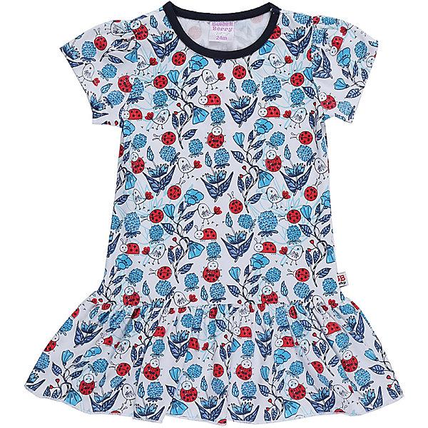 Платье для девочки Sweet BerryПлатья<br>Трикотажное платье для девочки из принтованной ткани  с коротким рукавом.<br>Состав:<br>95%хлопок 5%эластан<br>Ширина мм: 236; Глубина мм: 16; Высота мм: 184; Вес г: 177; Цвет: белый; Возраст от месяцев: 12; Возраст до месяцев: 15; Пол: Женский; Возраст: Детский; Размер: 80,86,98,92; SKU: 5410983;