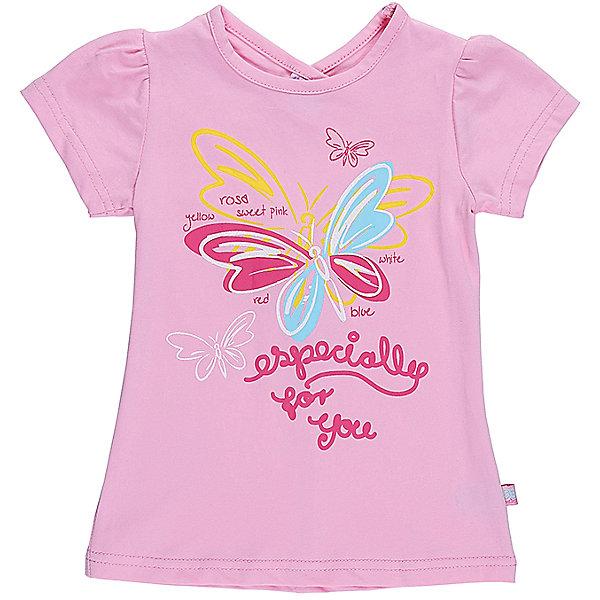 Футболка для девочки Sweet BerryФутболки, топы<br>Розовая футболка с фигурным вырезом горловины на спинке для девочки. Декорирована ярким принтом. Приталенный крой.<br>Состав:<br>95%хлопок 5%эластан<br>Ширина мм: 199; Глубина мм: 10; Высота мм: 161; Вес г: 151; Цвет: розовый; Возраст от месяцев: 12; Возраст до месяцев: 15; Пол: Женский; Возраст: Детский; Размер: 80,86,98,92; SKU: 5411232;