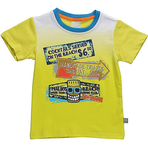 Футболка для мальчика Sweet BerryФутболки, топы<br>Стильная хлопковая футболка для мальчика с градиентом, декорирования ярким принтом. Горловина выполнена из контрастного голубого канта.<br>Состав:<br>95%хлопок 5%эластан<br>Ширина мм: 199; Глубина мм: 10; Высота мм: 161; Вес г: 151; Цвет: зеленый; Возраст от месяцев: 12; Возраст до месяцев: 18; Пол: Мужской; Возраст: Детский; Размер: 86,80,98,92; SKU: 5411467;