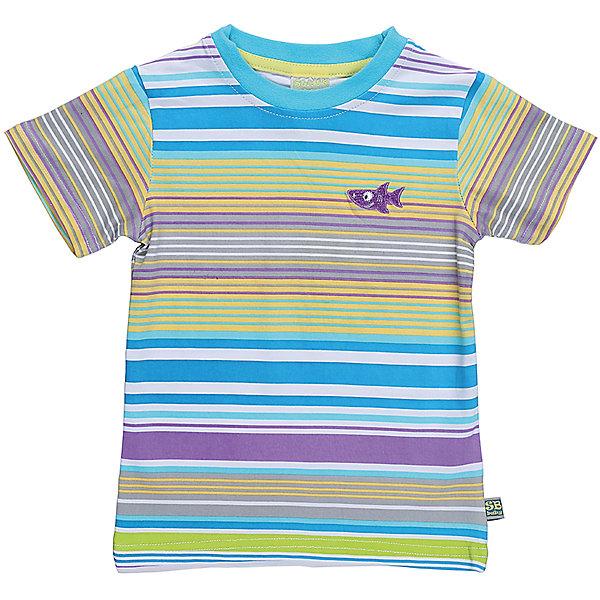 Футболка для мальчика Sweet BerryФутболки, топы<br>Полосатая футболка для мальчика с коротким рукавом.  Округлый вырез горловины отстрочен контрастным цветом.  Ткань с рисунком из полос белого, бирюзового, фиолетового, желтого и зеленого цвета. Г=На груди небольшая вышивка белого цвета.<br>Состав:<br>95%хлопок 5%эластан<br>Ширина мм: 199; Глубина мм: 10; Высота мм: 161; Вес г: 151; Цвет: белый; Возраст от месяцев: 12; Возраст до месяцев: 18; Пол: Мужской; Возраст: Детский; Размер: 86,80,98,92; SKU: 5411662;