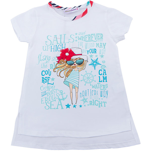 Футболка для девочки Sweet BerryФутболки, поло и топы<br>Удлиненная футболка из трикотажной, мягкой ткани для девочки с коротким рукавом и удлиненной спинкой. Декорирована оригинальным принтом и контрастным кантом.<br>Состав:<br>95%хлопок 5%эластан<br>Ширина мм: 199; Глубина мм: 10; Высота мм: 161; Вес г: 151; Цвет: белый; Возраст от месяцев: 24; Возраст до месяцев: 36; Пол: Женский; Возраст: Детский; Размер: 98,104,128,122,116,110; SKU: 5411856;