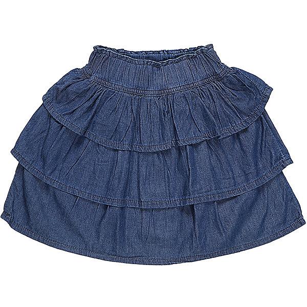 Юбка джинсовая для девочки Sweet BerryДжинсовая одежда<br>Многоярусная юбка из трикотажной ткани под Джинсу. Широкий эластичный пояс.<br>Состав:<br>100%хлопок<br>Ширина мм: 207; Глубина мм: 10; Высота мм: 189; Вес г: 183; Цвет: синий; Возраст от месяцев: 36; Возраст до месяцев: 48; Пол: Женский; Возраст: Детский; Размер: 104,98,128,122,116,110; SKU: 5411962;
