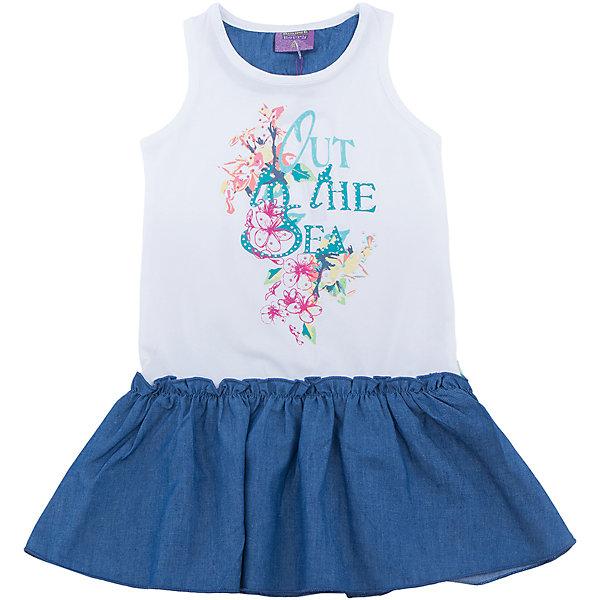 Платье для девочки Sweet BerryЛетние платья и сарафаны<br>Платье для девочки из трикотажной ткани декорированное ярким принтом и контрастным воланом по низу изделия.<br>Состав:<br>95%хлопок 5%эластан<br>Ширина мм: 236; Глубина мм: 16; Высота мм: 184; Вес г: 177; Цвет: белый; Возраст от месяцев: 24; Возраст до месяцев: 36; Пол: Женский; Возраст: Детский; Размер: 98,104,128,122,116,110; SKU: 5412776;
