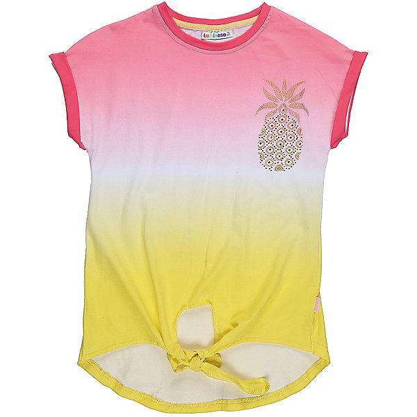 Футболка для девочки LuminosoФутболки, поло и топы<br>Стильная футболка из трикотажной ткани для девочки с коротким рукавом и удлиненной спинкой. Декорирована мягким градиентным переходом цвета яркой аппликацией.<br>Состав:<br>95%хлопок 5%эластан<br>Ширина мм: 199; Глубина мм: 10; Высота мм: 161; Вес г: 151; Цвет: белый; Возраст от месяцев: 108; Возраст до месяцев: 120; Пол: Женский; Возраст: Детский; Размер: 152,146,140,134,164,158; SKU: 5413172;