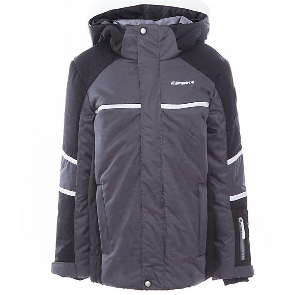 Куртка для мальчика ICEPEAKОдежда<br>Характеристики товара:  <br><br>• цвет: серый;<br>• состав: 100% полиэстер;<br>• утеплитель : 190/110 гр;<br>• сезон: зима;<br>• температурный режим: до -25 °;<br>• отстегивающийся капюшон;<br>• молния закрыта планкой;<br>• сформированный локоть;<br>• утяжка по подолу;<br>• снегозащитная юбка;<br>• регулируемый манжет на липучке;<br>• эластичный внутренний манжет с прорезью для пальца;<br>• утепленные и мягкие боковые карманы на молнии;<br>• карман для ski pass;<br>• мягкий и теплый внутренний воротник;<br>• светоотражающие элементы;<br>• страна бренда: Финляндия;<br>• комфорт и качество.<br><br>Куртка текстильная с капюшоном с утеплением 190/110 гр. Комфортная, обеспечивает тепло благодаря водо- и ветронепроницаемым свойствам ткань. Куртка имеет сформированный локоть, утяжку в нижней части куртки, утепленные и мягкие боковые карманы на молнии. В такой куртке ребенку будет комфортно и тепло.<br><br>Эффективные светоотражатели позволят чувствовать себя в безопасности в любых погодных условиях, особенно в темное время суток.<br><br>Куртку Icepeak (Айспик) для мальчика можно купить в нашем интернет-магазине.<br>Ширина мм: 356; Глубина мм: 10; Высота мм: 245; Вес г: 519; Цвет: серый; Возраст от месяцев: 84; Возраст до месяцев: 96; Пол: Мужской; Возраст: Детский; Размер: 128,140,152,164,176; SKU: 5414009;