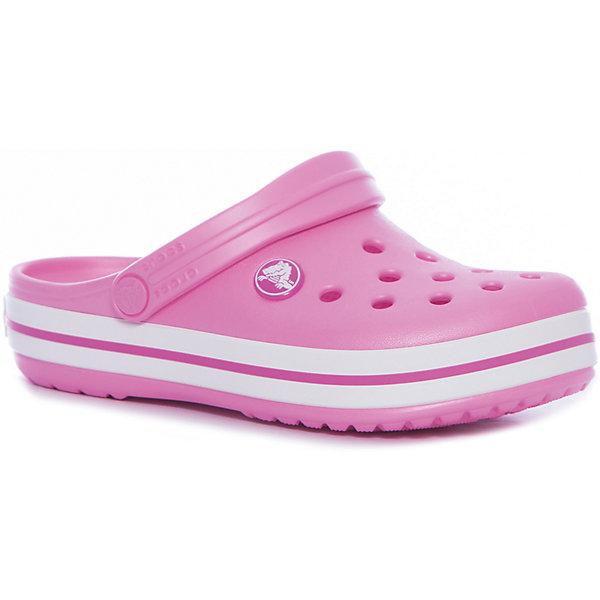 Сабо Crocband™ clog, розовыйПляжная обувь<br>Характеристики товара:<br><br>• цвет: розовый<br>• материал: 100% полимер Croslite™<br>• литая модель<br>• вентиляционные отверстия<br>• бактериостатичный материал<br>• пяточный ремешок фиксирует стопу<br>• толстая устойчивая подошва<br>• отверстия для использования украшений<br>• анатомическая стелька с массажными точками стимулирует кровообращение<br>• страна бренда: США<br>• страна изготовитель: Китай<br><br>Для правильного развития ребенка крайне важно, чтобы обувь была удобной. <br><br>Такие сабо обеспечивают детям необходимый комфорт, а анатомическая стелька с массажными линиями для стимуляции кровообращения позволяет ножкам дольше не уставать. <br><br>Сабо легко надеваются и снимаются, отлично сидят на ноге. <br><br>Материал, из которого они сделаны, не дает размножаться бактериям, поэтому такая обувь препятствует образованию неприятного запаха и появлению болезней стоп.<br><br>Обувь от американского бренда Crocs в данный момент завоевала широкую популярность во всем мире, и это не удивительно - ведь она невероятно удобна. <br><br>Её носят врачи, спортсмены, звёзды шоу-бизнеса, люди, которым много времени приходится бывать на ногах - они понимают, как важна комфортная обувь. <br><br>Продукция Crocs - это качественные товары, созданные с применением новейших технологий. <br><br>Обувь отличается стильным дизайном и продуманной конструкцией. <br><br>Изделие производится из качественных и проверенных материалов, которые безопасны для детей.<br><br>Сабо Crocband™ clog от торговой марки Crocs можно купить в нашем интернет-магазине.<br>Ширина мм: 225; Глубина мм: 139; Высота мм: 112; Вес г: 290; Цвет: розовый; Возраст от месяцев: 72; Возраст до месяцев: 84; Пол: Унисекс; Возраст: Детский; Размер: 30,23,22,21,29,28,27,34/35,33/34,31/32,26,25,24; SKU: 5416510;