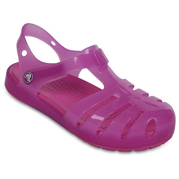 Сандалии для девочки Isabella Novelty Sandals CROCSПляжная обувь<br>Характеристики товара:<br><br>• цвет: розовый <br>• сезон: лето<br>• тип сандалей: закрытые<br>• материал: 100% полимер Croslite™<br>• литая модель<br>• бактериостатичный материал<br>• пяточный ремешок фиксирует стопу<br>• устойчивая подошва<br>• анатомическая стелька с массажными точками<br>• страна бренда: США<br>• страна изготовитель: Китай<br><br>Для правильного развития ребенка крайне важно, чтобы обувь была удобной. <br><br>Такие сандалии обеспечивают детям необходимый комфорт, а анатомическая стелька с массажными линиями для стимуляции кровообращения позволяет ножкам дольше не уставать. <br><br>Сандалии легко надеваются и снимаются, отлично сидят на ноге. Материал, из которого они сделаны, не дает размножаться бактериям, поэтому такая обувь препятствует образованию неприятного запаха и появлению болезней стоп. <br><br>Продукция Crocs - это качественные товары, созданные с применением новейших технологий. Обувь отличается стильным дизайном и продуманной конструкцией.<br><br>Сандалии для девочки Isabella Novelty Sandals от торговой марки Crocs можно купить в нашем интернет-магазине.<br>Ширина мм: 219; Глубина мм: 154; Высота мм: 121; Вес г: 343; Цвет: лиловый; Возраст от месяцев: 36; Возраст до месяцев: 48; Пол: Женский; Возраст: Детский; Размер: 27,26,25,24,23,22,21,30,29,28; SKU: 5416853;