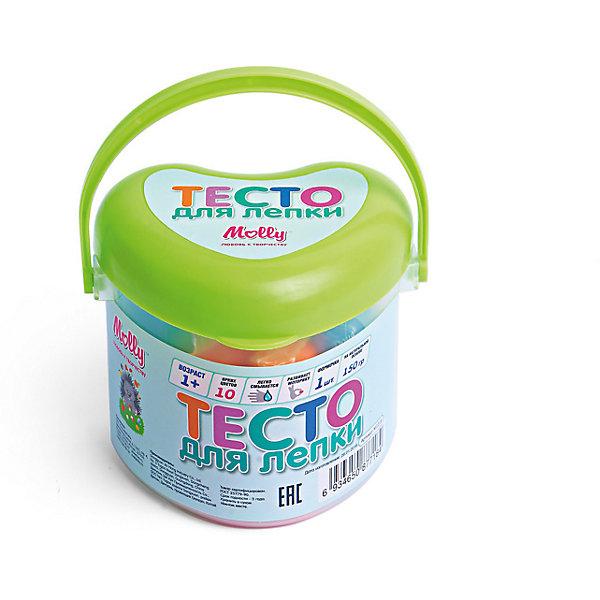 Тесто для лепки 10 цветов + формочкаТесто для лепки<br>Тесто для лепки 10 цветов + формочка. <br><br>Характеристика: <br><br>• Состав: пшеничная мука крахмал, вода, соль, пищевая добавка, пищевая краситель.<br>• Размер упаковки: 8х8х6 см.  <br>• Комплектация: тесто (10 цветов), формочка (1 шт). <br>• Яркие, насыщенные цвета. <br>• 10 цветов (по 15 гр.) - синий, голубой, оранжевый, желтый, красный, розовый, белый, сиреневый, темно зеленый, светло-зеленый.<br>• Легко смывается с одежды и рук. <br>• Безопасно при проглатывании. <br>• Отлично развивает моторику рук, внимание, мышление и воображение. <br>• Удобная упаковка в виде ведерка с ручкой для переноски. <br><br>Мягкое тесто для лепки - отличный подарок для малыша. Тесто изготовлено из натуральных материалов, с использованием абсолютно безопасных для детей красителей, легко смывается с одежды и рук. Лепка - прекрасный вид детского досуга, помогающий развить мелкую моторику, цветовосприятие, воображение и мышление.<br><br>Тесто для лепки 10 цветов + формочку можно купить в нашем интернет-магазине.<br>Ширина мм: 80; Глубина мм: 80; Высота мм: 60; Вес г: 150; Возраст от месяцев: 12; Возраст до месяцев: 36; Пол: Унисекс; Возраст: Детский; SKU: 5417572;